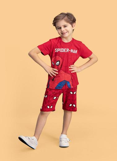 Spider-Man Spider Man Lisanslı Erkek Çocuk Bermuda Takım Kırmızı